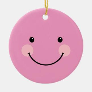 かわいい微笑のパステル調のマゼンタの顔の円形のオーナメント 陶器製丸型オーナメント