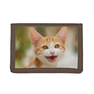 かわいい微笑の子ネコおもしろいな猫の猫の鳴き声 ナイロン三つ折りウォレット