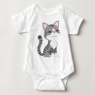 かわいい微笑の灰色の虎猫猫 ベビーボディスーツ