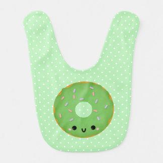 かわいい微笑の緑ドーナツベビー用ビブ ベビービブ