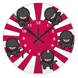 かわいい忍者 ラージ壁時計