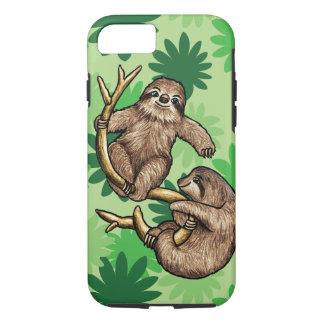 かわいい怠惰およびCecropiaの葉のiPhone 7の場合 iPhone 8/7ケース