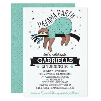 かわいい怠惰の大人のパジャマのパーティの招待状 カード