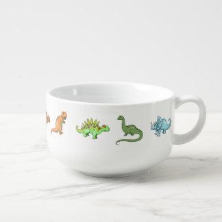 かわいい恐竜の図解入りの、写真付きのでカラフルな芸術 スープマグカップ