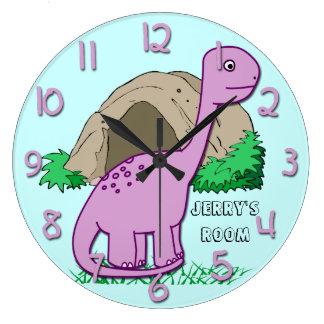 かわいい恐竜の子供の円形の柱時計 ラージ壁時計