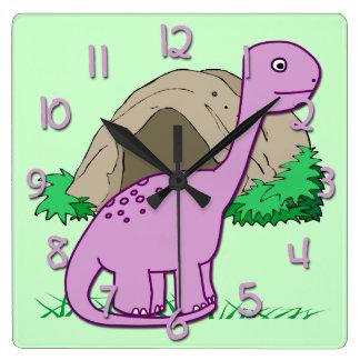 かわいい恐竜の子供の正方形の柱時計 スクエア壁時計