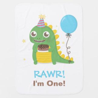 かわいい恐竜の誕生会Rawr私は1才です ベビー ブランケット