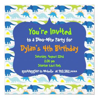 かわいい恐竜の誕生日のパーティの招待状のテンプレート 13.3 スクエアインビテーションカード