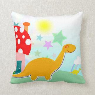 かわいい恐竜及びきのこの家の枕 クッション
