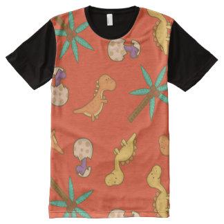 かわいい恐竜 オールオーバープリントT シャツ
