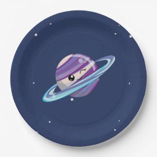 かわいい惑星の土星の宇宙の銀河系の子供の誕生日 ペーパープレート