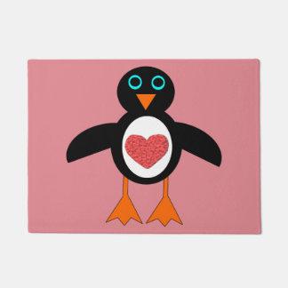 かわいい愛ハートのペンギンのドア・マット ドアマット