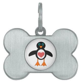 かわいい愛ハートのペンギンのペットタグ ペットネームタグ