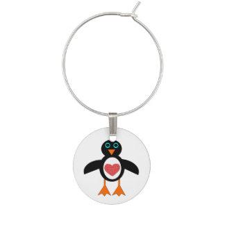 かわいい愛ハートのペンギンのワインチャーム ワインチャーム