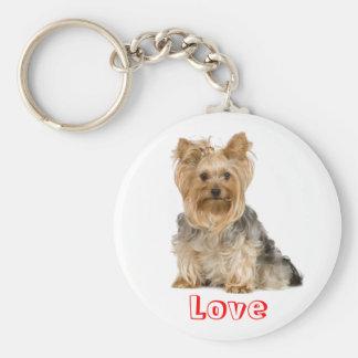 かわいい愛ヨークシャテリアの小犬のキーホルダー キーホルダー