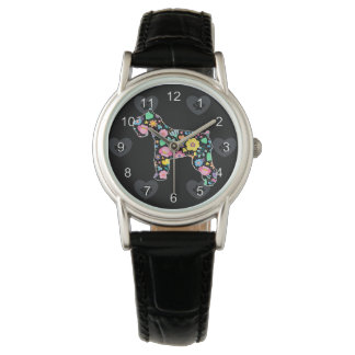 かわいい愛私のシュナウツァーの花柄 腕時計