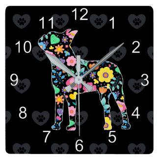 かわいい愛私のボストンテリアの花柄 スクエア壁時計
