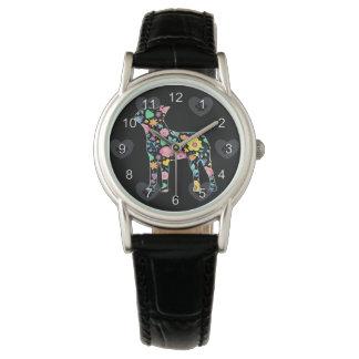 かわいい愛私のボストンテリアの花柄 腕時計