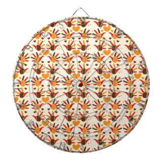 かわいい感謝祭の七面鳥手はパターンを印刷します ダーツボード