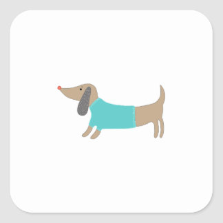 かわいい手描きの小犬 スクエアシール