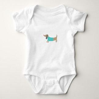 かわいい手描きの小犬 ベビーボディスーツ