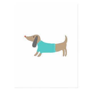 かわいい手描きの小犬 ポストカード
