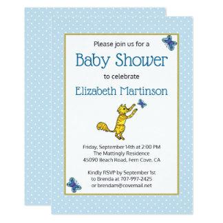 かわいい手描きの猫の蝶青色児のシャワー カード