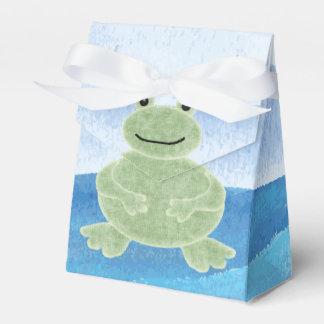 かわいい手描きの緑カエルの男の子のベビーシャワー フェイバーボックス