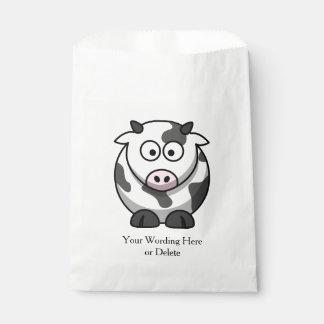 かわいい斑点を付けられた漫画牛ピンクの鼻の任意選択語 フェイバーバッグ