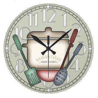 かわいい料理のポットおよび台所道具カスタム色 ラージ壁時計