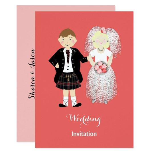かわいい新郎新婦のスコットランドの結婚式のテーマ カード