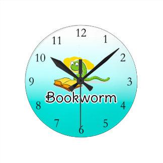かわいい本の虫w/Glasses ラウンド壁時計