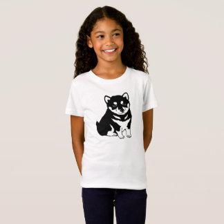 かわいい柴犬の小犬のシルエットの女の子のTシャツ Tシャツ