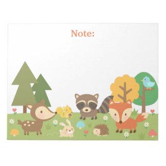 かわいい森林森林動物および創造物 ノートパッド