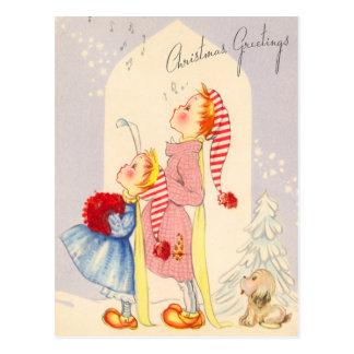 かわいい歌うクリスマスの聖歌隊郵便はがき ポストカード