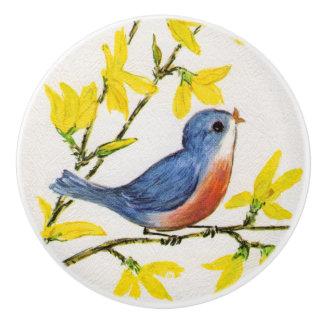 かわいい歌う青い鳥のツリーブランチ セラミックノブ