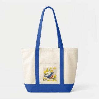 かわいい歌う青い鳥の木 トートバッグ