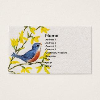 かわいい歌う青い鳥の木 名刺
