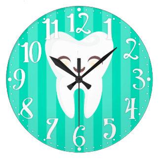 かわいい歯-ティール(緑がかった色)のストライプのな歯科柱時計 ラージ壁時計