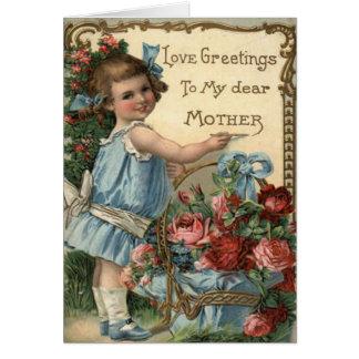かわいい母の詩が付いているヴィンテージの母の日カード カード