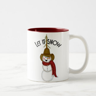 かわいい民芸のカウボーイの雪だるま ツートーンマグカップ