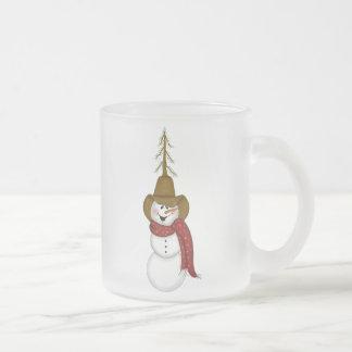 かわいい民芸のカウボーイの雪だるま フロストグラスマグカップ