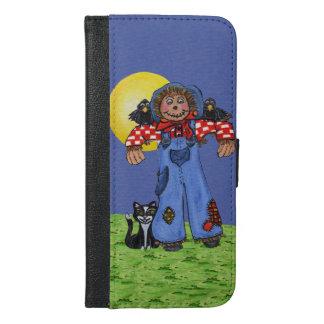かわいい民芸のブルー・ジーンズのかかしのカラスハロウィン iPhone 6/6S PLUS ウォレットケース