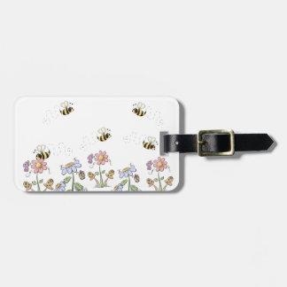かわいい民芸の蜂のデイジーの蝶 ラゲッジタグ