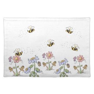 かわいい民芸の蜂のデイジーの蝶 ランチョンマット