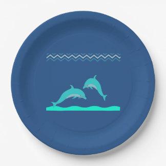 かわいい水の青いイルカ水ベビーシャワー ペーパープレート