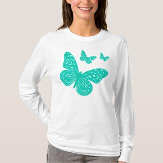 かわいい水の青の蝶 Tシャツ