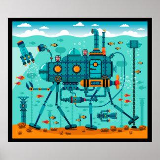 かわいい水中ロボット場面 ポスター