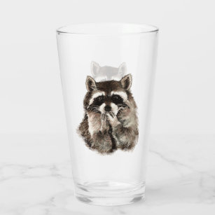 かわいい水彩タヌキの動物アートグ タンブラーグラス