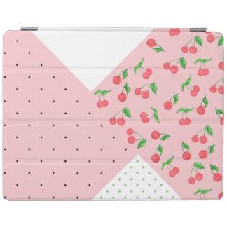 かわいい水彩画のさくらんぼのスケッチの水玉模様パターン iPadスマートカバー